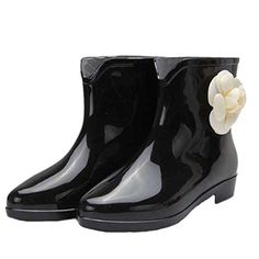 Dear Time Camellia Flower Women Rain Boots Black US 6 * Check this awesome product by going to the link at the image.