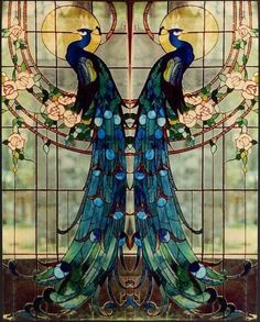 "Beautiful ""Art Nouveau"" Tiffany Glass This would be great on a set of doors.but with the peacocks facing each other Motifs Art Nouveau, Design Art Nouveau, Motif Art Deco, Art Design, Glass Design, Sea Glass Art, Stained Glass Art, Stained Glass Windows, Mosaic Glass"