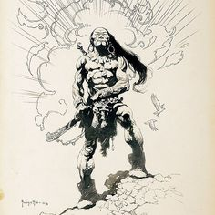 I am THE APOCOLYTE! I bring you more amazing fantasy artwork by the masterful Frank Frazetta. Continuing from my las. Frank Frazetta, Image Comics, Bd Comics, Ink Illustrations, Illustration Art, Mc Bess, Sword And Sorcery, Living Legends, Fantastic Art