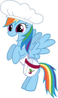 Happy Rainbow Dash in chef's hat by CrusierPL