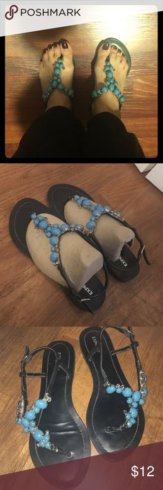 Express turquoise studded sandals. Express turquoise studded sandals. This item is worn shows some signs of wear. Very pretty, black bottom. No studs missing. I don't have the shoe box. Express Shoes Sandals