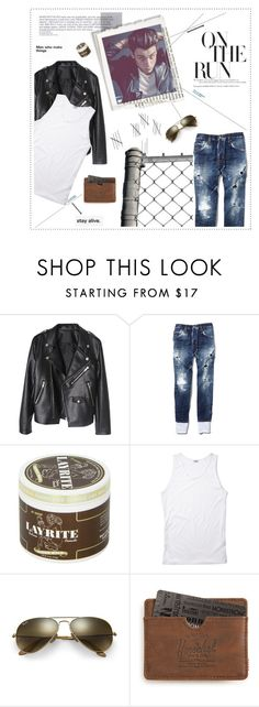 """""""With a pretty as.s girl and a slow jam, and some Sour Patch Kids and a Coke can // RB"""" by lost-my-halo ❤ liked on Polyvore featuring Dsquared2, Ray-Ban, Herschel Supply Co., men's fashion and menswear"""