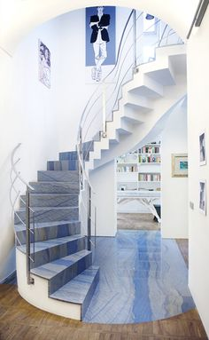 Azul Macaubas Quartzite Spiral Stairs Looking Down From