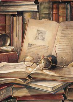Vintage Books Illustration Mice Ideas For 2019 Art And Illustration, Illustration Children, Magazine Illustration, Animal Illustrations, Art Fantaisiste, Reading Art, Fairytale Art, Whimsical Art, Love Book