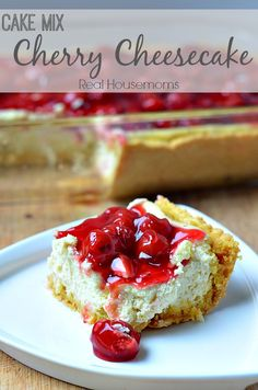 This Cake Mix Cherry Cheesecake is so tasty and easy to make! It's perfect for any party or pot luck!