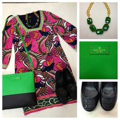 Laundry by Shelli Segal Printed Sleeve Dress in Neo Pink Multi, Tory Burch Sally Wedge in Navy Tumbled Leather, Kate Spade Cora Shamrock Crossbody, Susan Shaw Necklace,