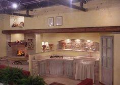 Grifo Caminetti - Le nostre cucine in mattoni, pietre, marmo e legno Yellow Cottage, Kids Corner, Beautiful Kitchens, My Dream Home, Ikea, Sweet Home, Shabby Chic, House, Furniture