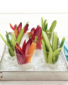 This single-serving approach to a crudites platter makes it easy for guests to help themselves and keeps the dips fresh and cold.