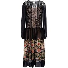 Alberta Ferretti Knee-length Dress (£1,131) ❤ liked on Polyvore featuring dresses, black, knee high dresses, knee length slip dress, longsleeve dress, embroidery dresses and embroidered dress