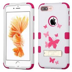 Insten Butterfly Dancing Tuff Hard PC/ Silicone Dual Layer Hybrid Case Cover with Stand For Apple iPhone 7 Plus #2270830
