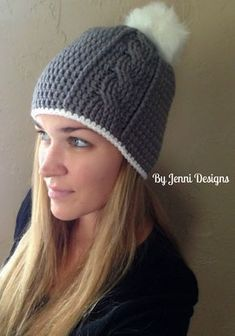 By Jenni Designs: Free Crochet Pattern: Women's Vertical Cable Beanie with Slouchy Option