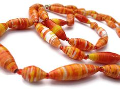 Yellow Red and Orange Necklace  EcoFriendly by PurpleSmoothie, $14.95