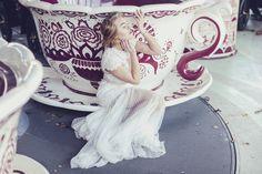 Cup of tea, lace dress