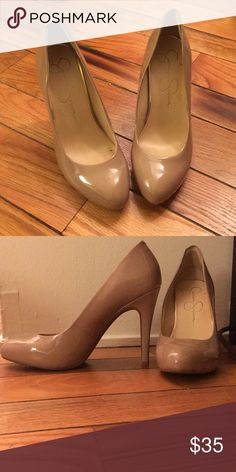 """Nude 3"""" heels Jessica Simpson platform heel. Added heel comfort strip. Heels are comfortable to wear and only worn once- I just don't wear heels anymore. Jessica Simpson Shoes Heels"""
