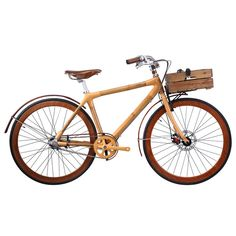 Revolution Nostalgic ~  Handcrafted from sustainable honey-infused, anti-crack, double-walled weatherproof bamboo, this 3-speeder comes with all the trimmings, including bamboo skin rims, a retro-style front rack, and bamboo chain-guards.