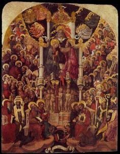 GIAMBONO, Michele Coronation of the Virgin  c. 1448 Tempera on panel, 229 x 176 cm Gallerie dell'Accademia, Venice  After a probable initiation at the workshop of Jacobello del Fiore, followed by a phase of admiration of Gentile da Fabriano, Michele Giambono soon passed to a sweetened form of Gothicism with somewhat affected colourings rather along the lines of Pisanello's work in the Palace of the Doges in Venice