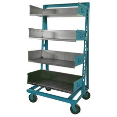 Industrial Blue and Steel Factory Storage A-Frame Rack as Shelving Unit   From a unique collection of antique and modern bookcases at https://www.1stdibs.com/furniture/storage-case-pieces/bookcases/
