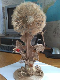 Sisal, Flower Crafts, Flower Art, Burlap Owl, Burlap Ribbon, Burlap Wreath, Fall Crafts, Diy And Crafts, Diy Y Manualidades