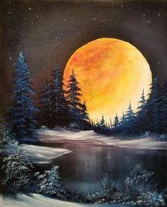 Black Canvas Paintings, Bob Ross Paintings, Black Canvas Art, Black Art, Landscape Art, Landscape Paintings, Moon Painting, Canvas Painting Nature, China Painting