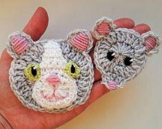 Chat et souris, appliqués au Crochet, animaux, gris souris, chat, Applique Motifs animaux, Sewnon, Applique en Crochet pour enfants vêtements, Appliques pour enfants