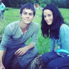 The Maze Runner. Teresa and Thomas on set.