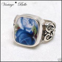 Broken China Moonlight Roses Sterling Ring Size 6 $78