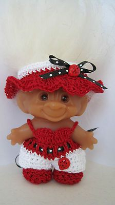Handmade Clothes Crochet   for 3  Troll Doll  Dam May fit other Trolls Ladybug