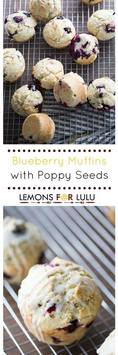 Breakfast will be the stand out meal when these blueberry muffins are served! These soft and tender muffins are speckled with poppy seeds and drizzled with a tangy lemon glaze. The combination of sweet and tart bursts through in each bite! Delicious Breakfast Recipes, Brunch Recipes, Delicious Desserts, Yummy Food, Muffin Recipes, Quick Recipes, Amazing Recipes, Free Recipes, Cookie Recipes