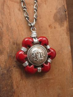 Upcycled Jewelry - Vintage Aluminum Red Water Faucet Handle with FD Coat Button Long Length Pendant Necklace