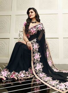 Pristine Black Faux Georgette Designer Saree www.ethnicoutfits.com Product Code : (4702) Email : support@ethnicoutfits.com What's app : +918141377746 Call : +918140714515