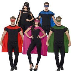 Superheldenumhang & Maske Superheld Kostüm grün Superman Umhang und Augenmaske Helden Kostüm Erwachsene Superhero Karnevalskostüm Superhelden Cape Outfit, Karneval, Fasching, Party, Feier