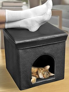 The Best Cat Condos, Beds and Shelves: Cats love hiding places, and this pet ottoman from QCI Direct lets you put your feet up and allows your cat to stretch out — so the both of you can unwind. The surface, made of polyurethane, is easy to wipe clean. From DIYnetwork.com