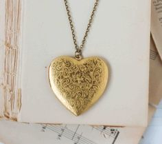 Large Gold HEART Locket Pendant Vintage Style by redtruckdesigns