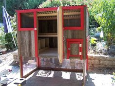Red Trim 4' x 6' Reclaimed Redwood Shed Coop | PaulsRarePoultry