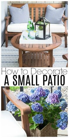 Are you intimidated by a super tiny front porch? I'll show you how to decorate a small patio beautifully with just a few basic accessories! ideas townhome How To Decorate a Small Patio You'll Love - Inspiration For Moms Budget Patio, Diy Patio, Patio Table, Backyard Patio, Wood Patio, Backyard Ideas, Desert Backyard, Rustic Patio, Modern Backyard