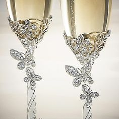 Engraved Butterfly Toasting Flutes , Add Your Personalized Message