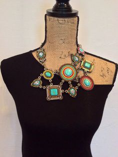 Unique Asymmetrical Beadwork Necklace with by perlinibella on Etsy