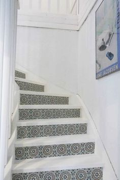 Upgrade your stairs with our glue less stickers mosaic ocre green Bookcase Stairs, Floor To Ceiling Bookshelves, Staircase Storage, House Stairs, Stair Risers, Stair Steps, Airbnb Design, Stair Stickers, Stone Stairs