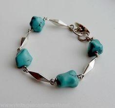 Vintage 1965 Swedish Design Saarela Arvo Sterling Silver Turquoise Bracelet 347 (08/04/2013)