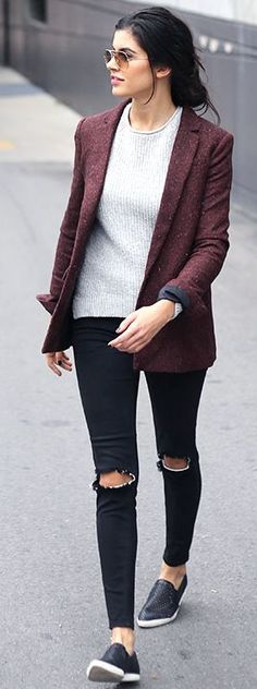 Burgundy Blazer Fall Streetstyle Inspo women fashion outfit clothing stylish apparel @roressclothes closet ideas