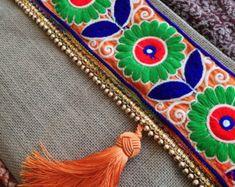 Púrpura borla de embrague, bolso de Bohemia, Bohobag, embrague monedero, bolso para mujer, moda embrague, regalo dia de las madres