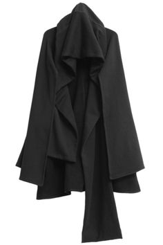 ROMWE Asymmetric Hood Loose Sheer Black Coat
