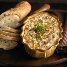 Warm and Creamy Bacon Dip:I don't put in the green onion and I use 4oz of bacon crumbles/pieces. Not bacon bits. They come in plastic bags in  the salad dressing aisle.