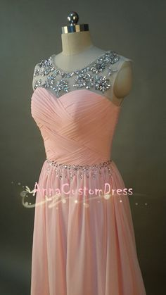 Long Blush Pink Bead Prom Dress Straps A-line Chiffon,Homecoming Dresses,Bridesmaid Dresses on Etsy, $129.00
