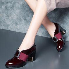 Shoespie Vintage Leather Elegant Block Heel Pumps