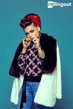 Andra Day: Voice of a new day - Rolling Out Rockabilly Fashion, Rockabilly Style, Rockabilly Girls, Hair Wrap Scarf, Vintage Black Glamour, Old Hollywood Glam, Pin Up Hair, Curvy Girl Fashion, Black Models