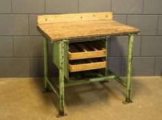 Best of the Past - Industrial vintage work bench from a factory in former Czechoslovakia. Beautiful factory green patine on metal frame and timeworn original wooden pieces.Got to love this one!
