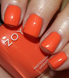 . This shade is stunning. It's bright, kind of coral looking and so rich. This was just two coats.