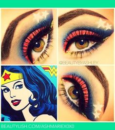 Wonder Woman inspires make-up! - Halloween Do it yourself Maquillage Wonder Woman, Superhero Makeup, Halloween Make Up, Halloween Face Makeup, Maquillage Halloween Simple, Wonder Woman Makeup, Drag, Make Up Looks, Fantasy Makeup