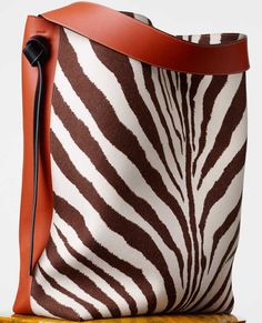 Celine Oversized Twisted Cabas - Shiny Smooth Calfskin and Felt in Chalk/Brick/Zebra Print | Winter 2015 Bag Collection | $2350